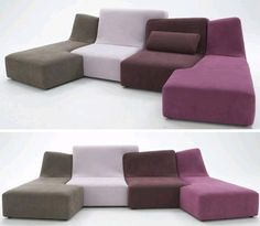 Love Seat + Sofa Set = Colorful Puzzle-Piece Couch Designs