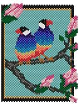 Finches Pattern   Graph provided in color code mode with list of Delicas needed, thumbnail.  20 colors  Project Type: Bead Stitch: brick or peyote Beads Used: Delicas