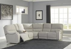 Bohannon Power Reclining Sectional with Console by Ashley at Becker Furniture World At Home Furniture Store, City Furniture, Living Room Furniture, Kitchen Furniture, Furniture Ideas, Fabric Sectional, Living Room Sectional, Sectional Sofas, Power Reclining Loveseat