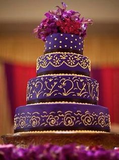 Find This Pin And More On Wedding Purple Gold Indian Cake