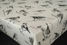 Garden Birds Black and White Cotton WIPE CLEAN Tablecloth Oilcloth  Many Sizes