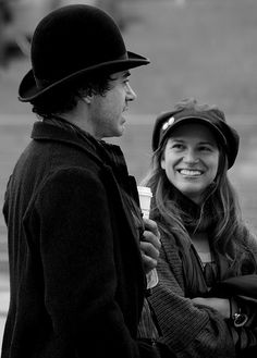 """and Susan Downey on the set of """"Sherlock Holmes,"""" Aww :) Susan Downey, Sherlock Holmes Robert Downey, Robert Downey Jr, Warner Bros Movies, Sherlock Cast, Literary Characters, Guy Ritchie, Downey Junior, Photos Du"""