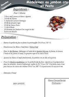 Madeleines jambon cru et pesto - Tupperware