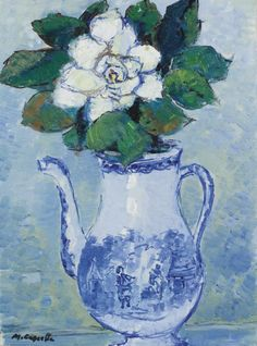 "huariqueje: ""  Rose blanche dans un vase ( White rose in a vase ) - Michele Cascella. Italian, 1892 - 1989 oil on canvas ,30.5 x 22.8 cm. (12 x 9 in.) """