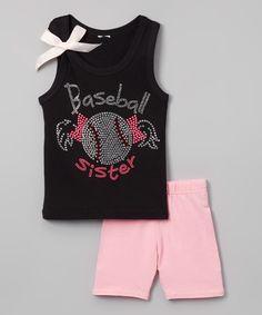 Beary Basics Black 'Baseball Sister' Tank & Pink Shorts - Toddler & Girls by Beary Basics #zulily #zulilyfinds