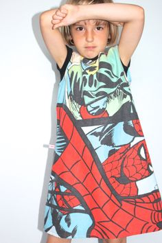 Upcycled Pop Art style Spiderman pinafore dress