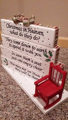 Own this beautiful handmade Christmas in Heaven poem table top display. Use it as decor or your centerpiece on your Holiday dinner table. it is all diy christmas gifts, christmas gifts cricut, friends christmas gifts Christmas In Heaven Poem, Noel Christmas, Christmas Signs, Winter Christmas, All Things Christmas, Christmas Chair, Christmas Place Setting, Blue Christmas Decor, Christmas Displays
