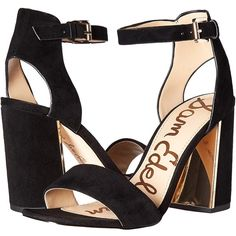 Sam Edelman Synthia (Black Kid Suede Leather) Women's 1-2 inch heel... ($120) ❤ liked on Polyvore featuring shoes, pumps, black pumps, black high heel pumps, thick heel pumps, open-toe pumps and black chunky heel pumps