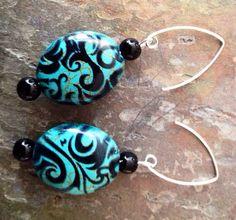 Stylish black and blue swirl earrings  on Etsy, $15.00