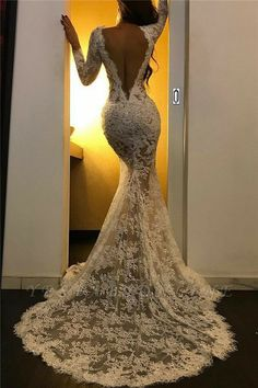 Lace Long Sleeve Prom Dresses with Slit Cheap Formal Dresses, Dresses Elegant, Sexy Wedding Dresses, Bridal Dresses, Maxi Dresses, Pretty Dresses, Casual Dresses, Summer Dresses, Backless Wedding