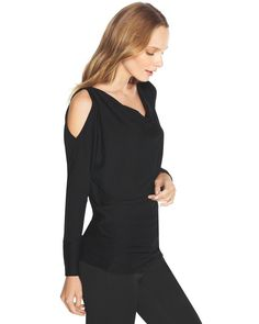 "Tasteful cutouts at each shoulder reveal a hint of skin on our long sleeve top with draping neck. Style it monochrome and pair with ankle pants.   Long sleeve cut-out top.   Polyester/rayon/spandex. Machine wash, cold.  Approx. 27"" from shoulder.  Imported."
