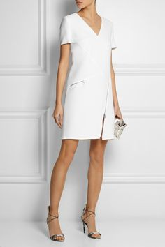Versace Zip-detailed silk-cady mini dress