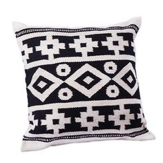 Wool cushion cover, 'Inca Duality' - Handwoven Black and White Inca Motif Wool…