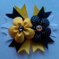 """Bumble Bee inspired colors  5.5"""" Flower Bow  Your choice of partially lined alligator clip or french barette"""