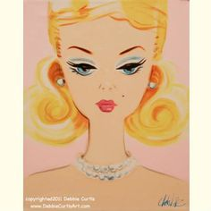 This woman at my work makes these vintage paintings of barbie. How cute for a girls room!