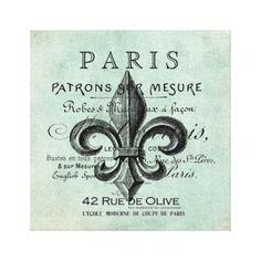 Vintage Paris fleur de lis stretched canvas Canvas Print