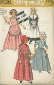 """An unused original ca. 1970 Simplicity Pattern 9136.  Girl's Puritan, Centennial, 18th and 19th Century Costumes:  The collarless, ankle length dress with gathered skirt stitched to """"V"""" at waistline bodice has back zipper and set-in sleeves.  V. 1 and 2 with high round neckline have long sleeves.  V. 3 and 4 with low square neckline have short sleeves.  V. 1 with eyelet edging and button trim has contrasting bonnet.  V. 2 has contrasting apron, hat detachable collar..."""