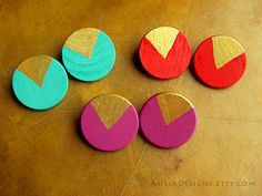 Round Handpainted Turquoise Coral Purple Earrings on Etsy, $13.00