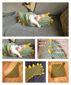Dino Baby Hooded Blanket Free Crochet Pattern