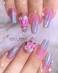 Check out our unicorn nail designs post for the best nail arts. You will sruely fall in love with these nail art designs. Cute Nail Art Designs, Light Blue Nail Designs, Light Blue Nails, Purple Nail Designs, Colorful Nail Designs, Unicorn Nails Designs, Unicorn Nail Art, Red Nail Art, Cool Nail Art