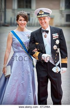 Stockholm, Sweden. 13th June, 2015. Crown Prince Frederik and Crown Princess Mary of Denmark arrive at the Royal Palace for the wedding of Prince Carl Philip and Sofia Hellqvist at the Palace Chapel in Stockholm, Sweden, 13 June 2015. © dpa picture alliance/Alamy Live News - Stock Image