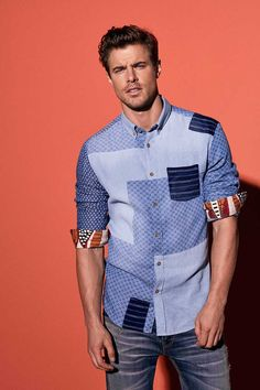 Men's blue long-sleeved shirt with very original patchworking.