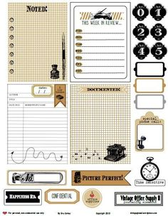 vintage office supply2 journaling elements preview Free Printable Download Vintage Office Supply 2 Journaling Elements