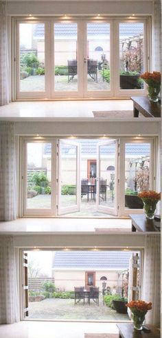 Love the idea of floor to ceiling accordion doors for master - Houses interior designs Red Bathroom Decor, Door Design, House Design, Accordion Doors, French Doors Patio, French Patio, Folding Doors, Bi Fold Patio Doors, Bi Fold Doors