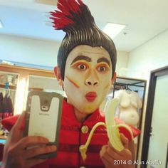 Behind the Scenes: Aljin Abella (Monkey) enjoys a pick-me-up in between shows Journey To The West, Behind The Scenes, Monkey, Carnival, Face, Jumpsuit, Monkeys, Faces, Carnival Holiday