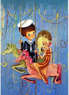 Going to the Fair 1, Vintage Postcard of a Big Eyed Girl and Boy by M Gloria | Flickr - Photo Sharing!