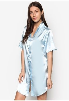 Buy Sleepwear For Women Online. Satin Shirt Dress from Impression in blue 1 78e74bdc2
