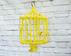 RARE Large Vintage 70s Yellow Hanging Macrame Bird Cage Planter Butterflies Ceiling Chain Rope Art by PaddywhackKnickKnack on Etsy