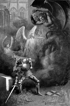 """Galahad ... quickly lifted up the stone, ... From """"The Legends of King Arthur ..."""" (1912) illustrated by Lancelot Speed"""