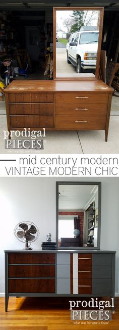 From dull and dated to modern chic. This vintage Broyhill Saga dresser got the update it needed to give it new life. New look done by a teen and can be seen at Prodigal Pieces | prodigalpieces.com #prodigalpieces #furniture #homedecor #midcentury #shopping