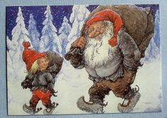 Rolf Lidberg 2 Gnomes Working Day Sweden Art Card