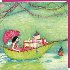 """Mila carte postale double carrée (16 cm) """"Le bateau aux cadeaux"""""""