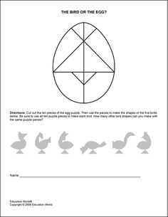 Tangram type puzzle to make birds