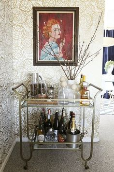 wallpaper, art, bar, vignette, gold, branches, glamour from: apartmenttherapy