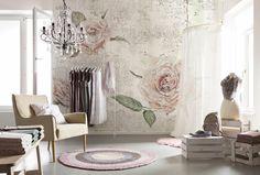 Die zarten Rosenblüten in soften Pastelltönen sorgen für eine romantische und elegante Wohnatmosphäre.  (Tantinet, XXL4-049)