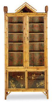 A VICTORIAN BAMBOO AND BLACK-JAPANNED BOOKCASE CABINET,