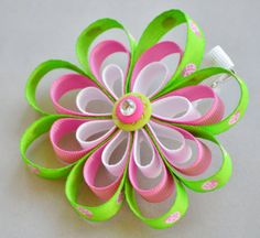 Pink Green and White Loopy Ladybug Ribbon Flower by LadybugBowShop, $6.00