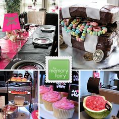 Pink Pirate Party. This was for a girl pirate ;). I like the cake treasure chest. Ive seen a few. There watermelon is very simple. The site has other pirate ideas.
