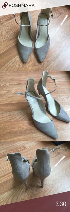 MIA Gray suede heels These MIA gray suede heels have only been worn once. They are in great condition and are a perfect height for work or running around town. On the inside of the shoe where the curve of the foot is, it comes up maybe and inch or two, which is great for the ladies who have a wider foot! Amen to that🙌🏽 Mia Shoes Heels