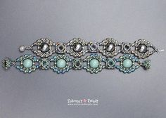 I made this bracelet starting with surounding the dome beads with beautiful fire polished beads and crystal bicones and connecting them with beautiful little bezels built using seed beads, crystal chatons and bicones. And, as a lovely finishing touch, Ive covered the clasp with crystals
