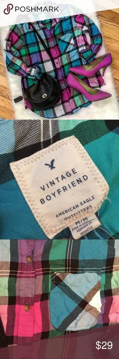 """American Eagle Outfitters Plaid Shirt, Size Med. Vibrant American Eagle Outfitters plaid shirt. """"Vintage Boyfriend"""" cut. Size medium. Never worn. American Eagle Outfitters Tops Button Down Shirts"""