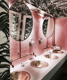 pink and tropical bathroom
