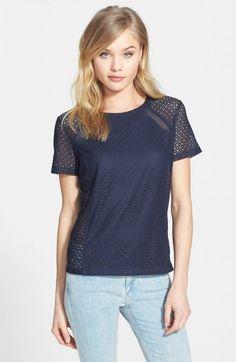 Chelsea28 Mesh Inset Lace Tee Navy Blazer | Jacket, Coat and Clothing