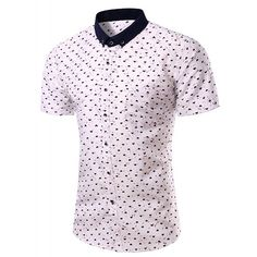 Casual Heart Printing Turn Down Collar Short Sleeves Shirt For Men ($17) ❤ liked on Polyvore featuring men's fashion, men's clothing, men's shirts and men's casual shirts