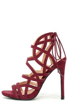 2ef4a7e2a79 Whirlwind Romance Burgundy Suede Caged Heels