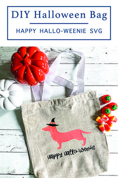 Make a fun Halloween shirt or trick or treat bag with this adorable Hallo-Weenie SVG File from Everyday Party Magazine #Halloween #FreeSVGFiles #HalloWeenie